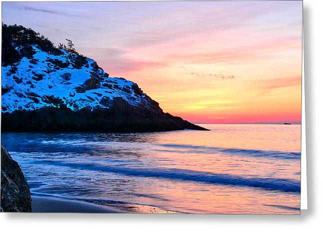 Touched By Light Greeting Cards - Touch of Snow-Singing Beach Greeting Card by Michael Hubley