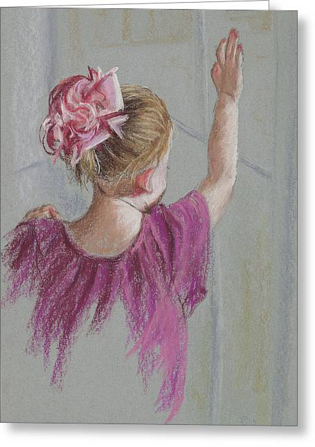 Innocence Child Pastels Greeting Cards - Touch The World Greeting Card by Jocelyn Paine