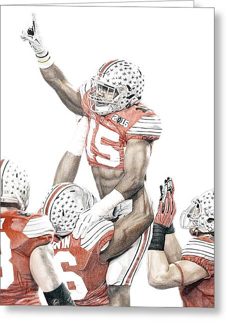 Champs Mixed Media Greeting Cards - Touchdown Greeting Card by Bobby Shaw