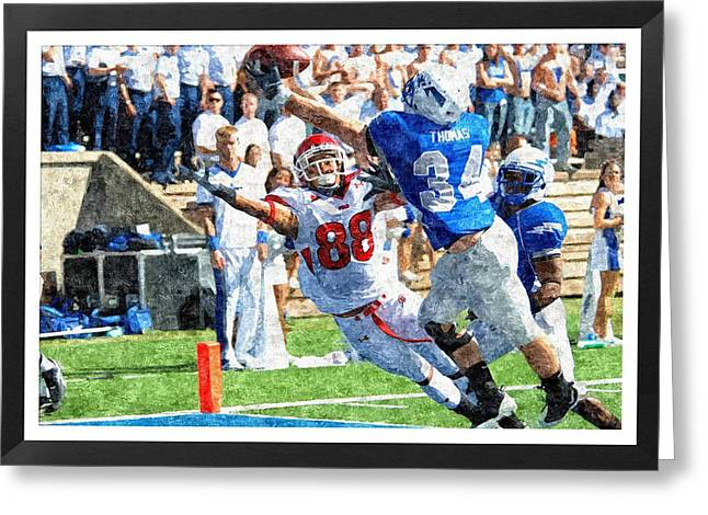 Sports Pyrography Greeting Cards - Touchdown Greeting Card by John Vito Figorito