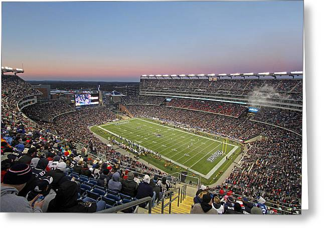 Celebrities Photographs Greeting Cards - Touchdown New England Patriots  Greeting Card by Juergen Roth