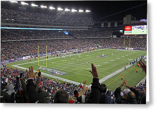 Foxboro Greeting Cards - Touchdown Patriots Nation Greeting Card by Juergen Roth