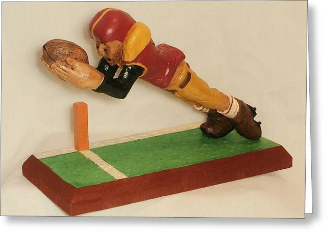 Sport Sculptures Greeting Cards - Touchdown Greeting Card by Russell Ellingsworth