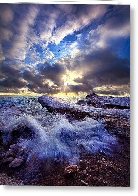 Blue Green Wave Greeting Cards - Touched So Divinely Greeting Card by Phil Koch