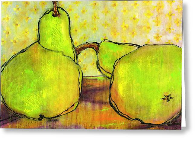 Pear Art Greeting Cards - Touching Green Pears Art Greeting Card by Blenda Studio