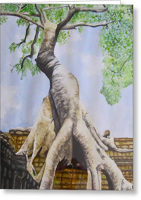 Tree Roots Paintings Greeting Cards - Temple Tree Greeting Card by Jack Lent