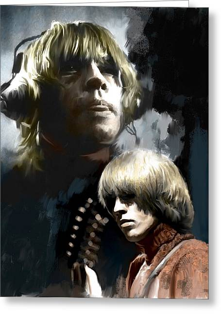 The Rolling Stones Art Work Greeting Cards - TouchStone Brian Jones Greeting Card by Iconic Images Art Gallery David Pucciarelli