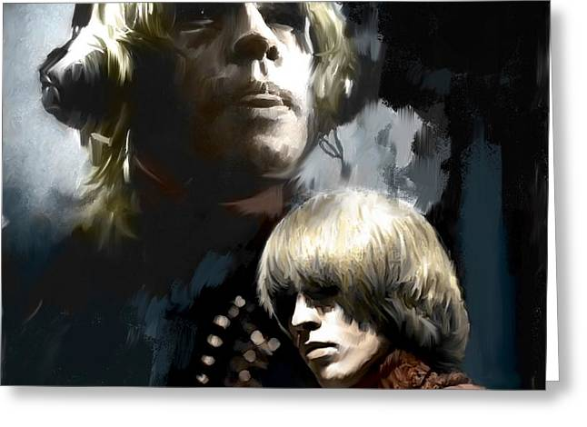 The Glimmer Twins Greeting Cards - TouchStone Brian Jones Greeting Card by Iconic Images Art Gallery David Pucciarelli