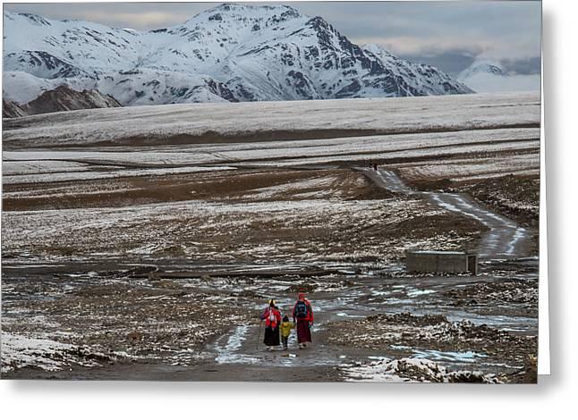 Tibetan Woman Greeting Cards - Tough Family Greeting Card by James Wheeler