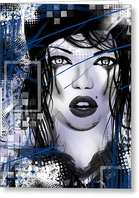 Black And White Photos Mixed Media Greeting Cards - Tough Love Blue Greeting Card by Melissa Smith