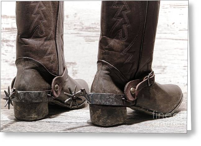 Boot Greeting Cards - Tough Spurs Greeting Card by Olivier Le Queinec
