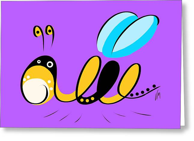 Black Light Blue Greeting Cards - Thoughts and colors series bee Greeting Card by Veronica Minozzi