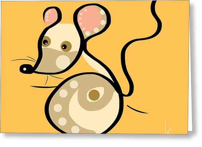 Animal Abstract Greeting Cards - Thoughts and colors series mouse Greeting Card by Veronica Minozzi