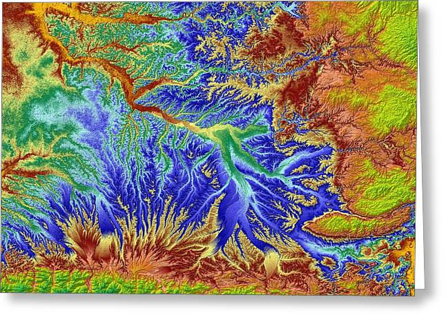 Landform Digital Greeting Cards - Toulouse France Map Art Greeting Card by Paul Hein