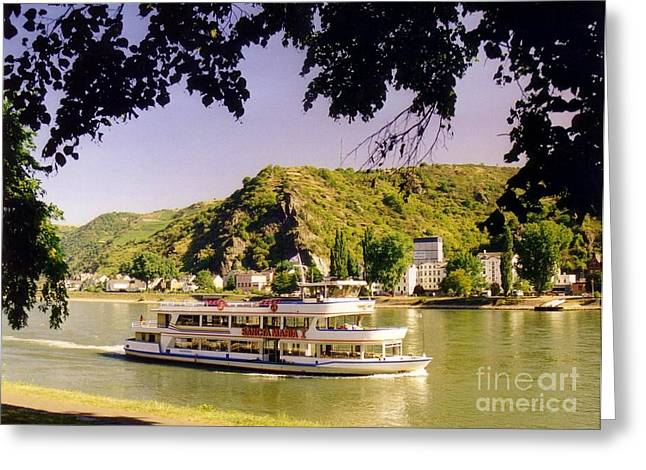 John Malone Artist Greeting Cards - Tour Boat on the River Rhine Greeting Card by John Malone