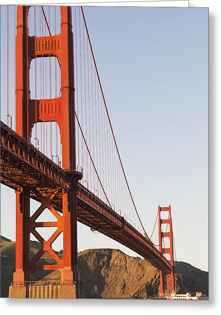 One Point Perspective Greeting Cards - Tour Boats Cross Under Golden Gate Greeting Card by Harry M. Walker