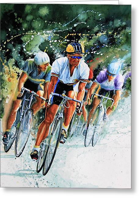 Sports Art Print Greeting Cards - Tour de Force Greeting Card by Hanne Lore Koehler