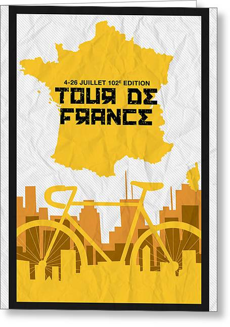 Action Sports Posters Greeting Cards - Tour de France 2015 Minimalist Poster Greeting Card by Celestial Images