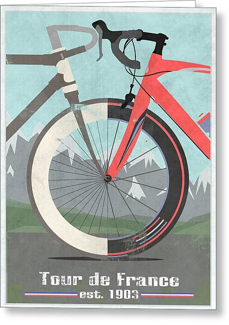 Wheels Greeting Cards - Tour De France Bicycle Greeting Card by Andy Scullion