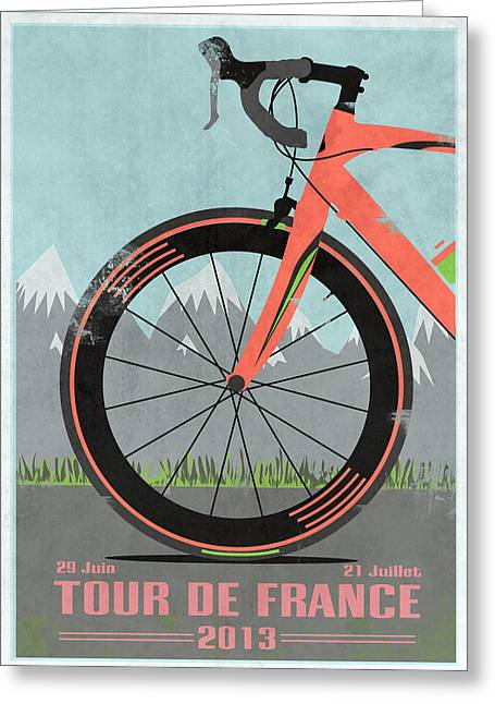 Messenger Greeting Cards - Tour De France Bike Greeting Card by Andy Scullion