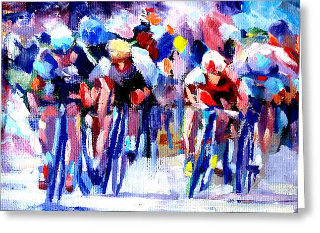 Mountain Climbing Art Print Paintings Greeting Cards - Tour de France Greeting Card by Mark Hartung