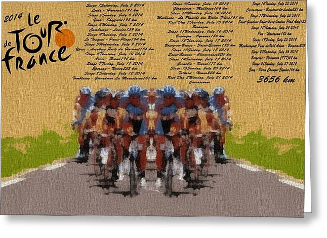 French Bicycle Shop Greeting Cards - Tour De France Poster Greeting Card by Dan Sproul