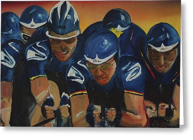 Time Trials Greeting Cards - Tour de France Team Time Trial Greeting Card by Gregory Allen Page