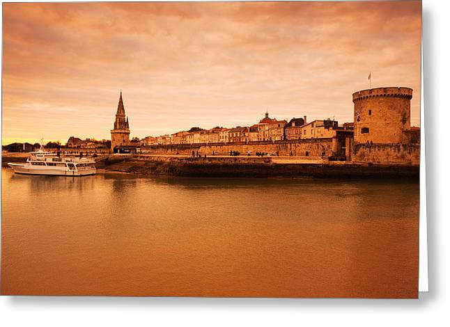 Buildings In The Harbor Greeting Cards - Tour De La Lanterne And Tour De La Greeting Card by Panoramic Images
