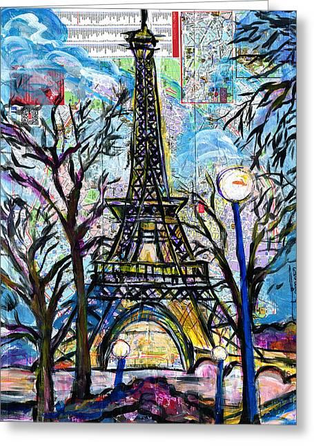 Wynton Marsalis Mixed Media Greeting Cards - Tour Eiffel Vue de lAquarium Greeting Card by Everett Spruill