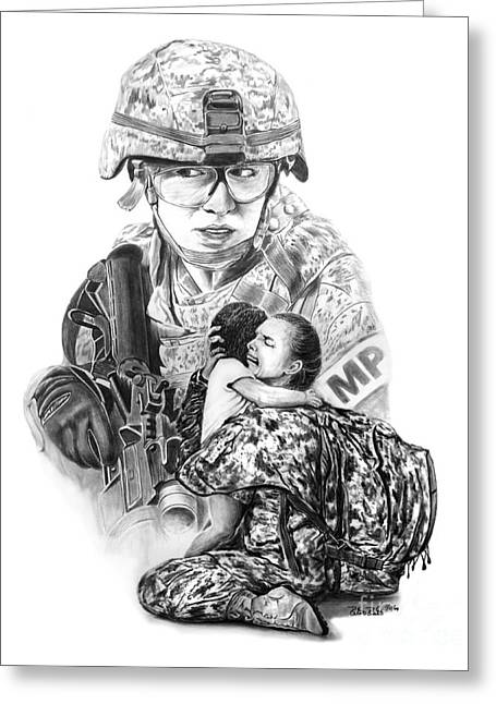 Iraq Drawings Greeting Cards - Tour of Duty - Women in Combat LE Greeting Card by Peter Piatt