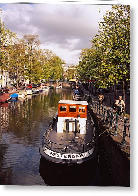 Script Greeting Cards - Tourboat Docked In A Channel Greeting Card by Panoramic Images