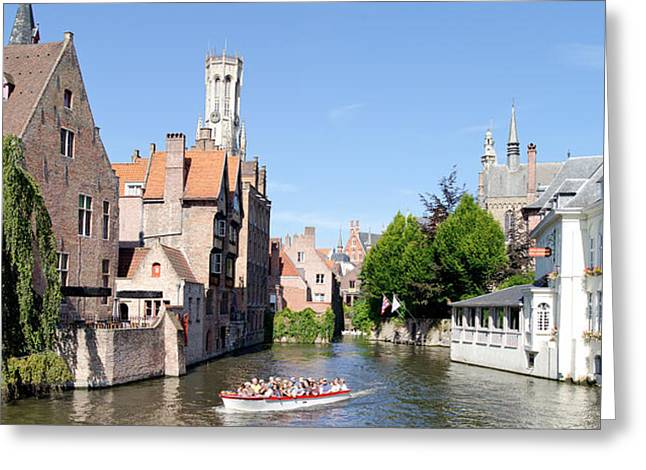 Incidental People Greeting Cards - Tourboat In A Canal, Bruges, West Greeting Card by Panoramic Images