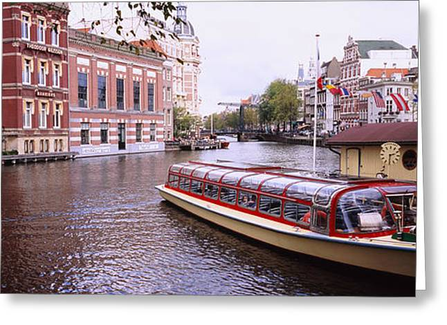 Reflection Of Trees Greeting Cards - Tourboat In A Channel, Amsterdam Greeting Card by Panoramic Images