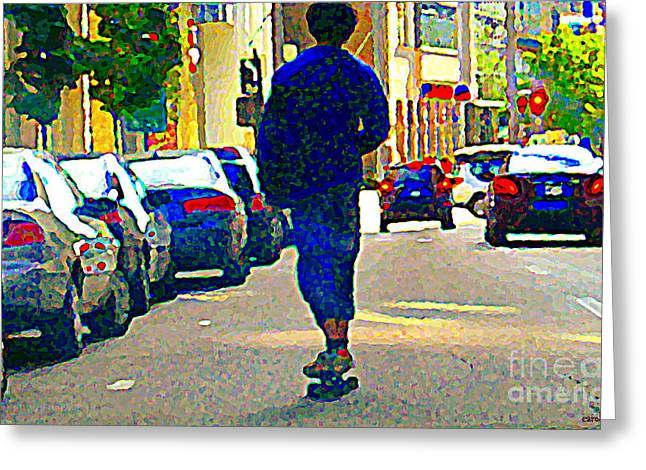 Roller Blades Greeting Cards - Touring Montreal On Wheels Inline Skater Downtown Traffic Roller Blading Summer City Scenes Cspandau Greeting Card by Carole Spandau