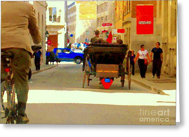 Touring Old Montreal Cyclist Caleche Cars Share Narrow Historic Youville Square City Scenes Cspandau Greeting Card by Carole Spandau