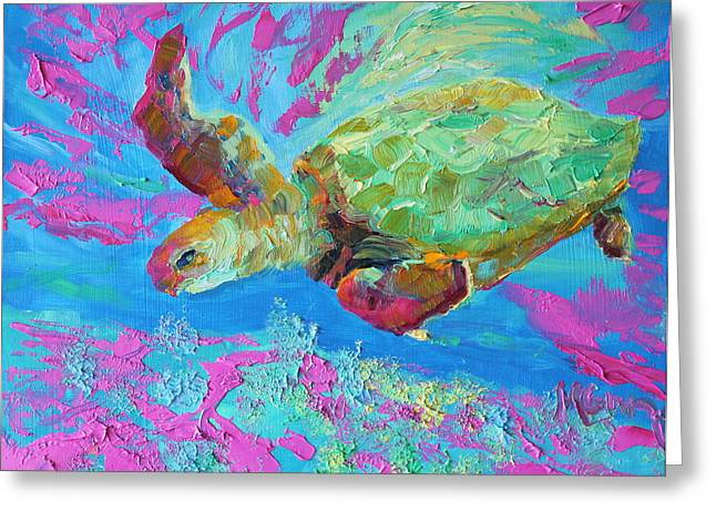 Marie Green Greeting Cards - Touring Turtle Greeting Card by Marie Green