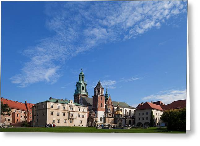 Krakow Greeting Cards - Tourist Groups In The Grounds Greeting Card by Panoramic Images
