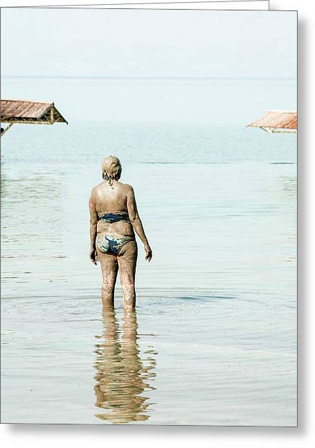 Tourist In The Dead-sea Greeting Card by Photostock-israel