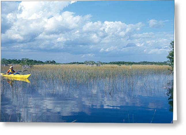 Mile One Greeting Cards - Tourist Kayaking In A Pond, Nine-mile Greeting Card by Panoramic Images