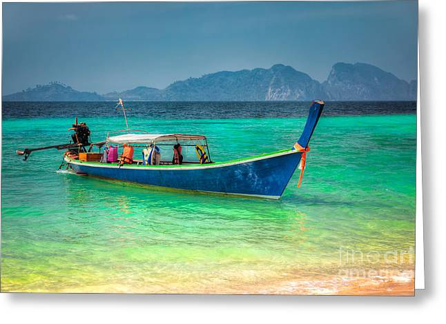 Charters Greeting Cards - Tourist Longboat Greeting Card by Adrian Evans