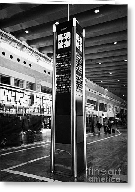 Meeting. Point Greeting Cards - Tourist Meeting Point Barcelona El Prat Airport Terminal 2 Catalonia Spain Greeting Card by Joe Fox