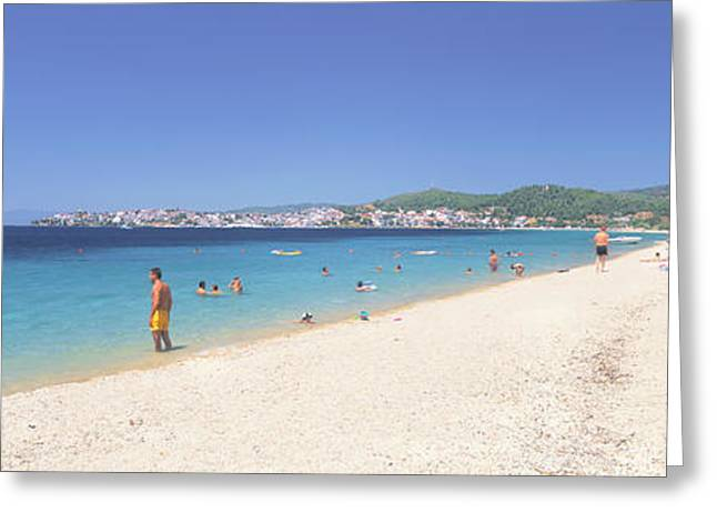Beach Photography Greeting Cards - Tourist On The Beach, Porto Carras Greeting Card by Panoramic Images