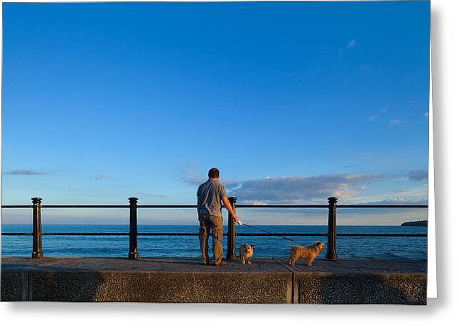 Visitors Greeting Cards - Tourist On The Promanade, Tramore Greeting Card by Panoramic Images