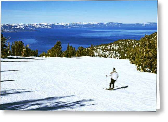Ski Resort Greeting Cards - Tourist Skiing In A Ski Resort Greeting Card by Panoramic Images