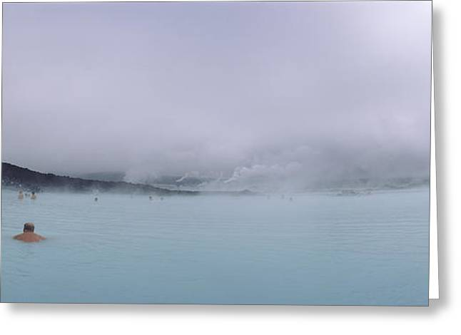 Tourist Swimming In A Thermal Pool Greeting Card by Panoramic Images
