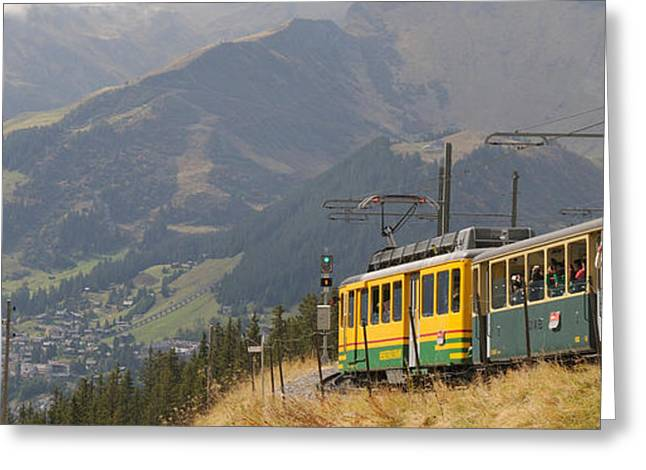 Train Photography Greeting Cards - Tourist Train Passing Through Hills Greeting Card by Panoramic Images