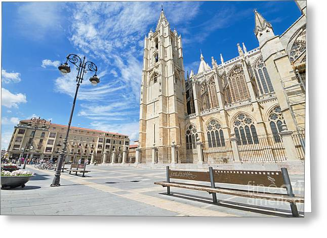 Destinies Cross Greeting Cards - Tourist visiting famous landmark Leon Cathedral Castilla y Leon Spain Greeting Card by David Herraez