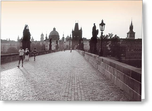 Four People Greeting Cards - Tourist Walking On A Bridge, Charles Greeting Card by Panoramic Images