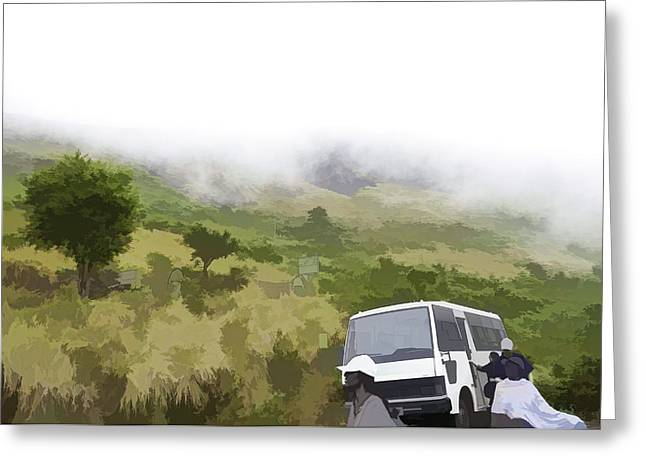 Greenery Greeting Cards - Tourists and bus inside the Eravikulam National Park Greeting Card by Ashish Agarwal