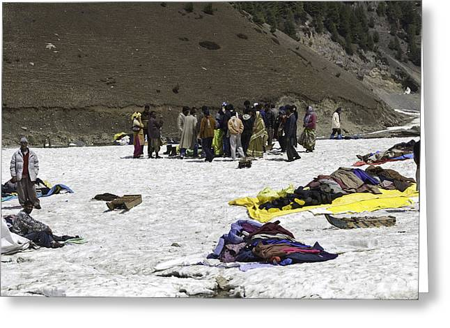 Greenery Greeting Cards - Tourists and locals mingling in the glacier like environment Greeting Card by Ashish Agarwal